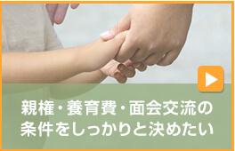 親権・養育費・面会交流の条件をしっかりと決めたい