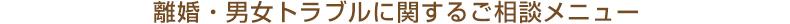 埼玉・浦和の離婚・男女トラブルに関するご相談メニュー